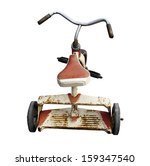 Old Rusty Tricycle On A White...