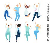 set of happy male and female...   Shutterstock .eps vector #1593481180