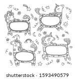 unicorn frames vector... | Shutterstock .eps vector #1593490579