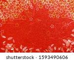 japanese cherry blossom pattern ... | Shutterstock . vector #1593490606