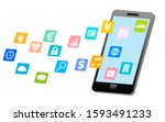 smartphone and app icon image | Shutterstock . vector #1593491233