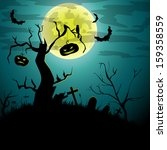 vector halloween card with tree ... | Shutterstock .eps vector #159358559