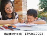 asian boy about 3 year and 10... | Shutterstock . vector #1593617023