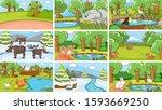 background scenes of animals in ... | Shutterstock .eps vector #1593669250