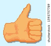 detailed pixel thumb up with... | Shutterstock .eps vector #1593757789