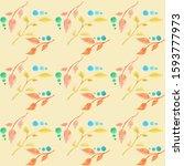 a pattern of stylized twigs on... | Shutterstock . vector #1593777973