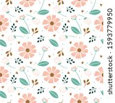 pastel variety flower and leaf... | Shutterstock .eps vector #1593779950
