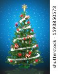shiny decorated christmas tree. ... | Shutterstock . vector #1593850573