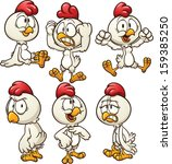 cute cartoon hen in different...