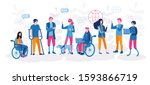 disabled people work together... | Shutterstock .eps vector #1593866719