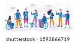 disabled people work together... | Shutterstock .eps vector #1593866719