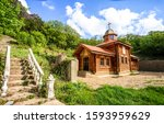 Wooden church in mountains...
