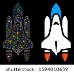 glowing mesh space shuttle icon ... | Shutterstock .eps vector #1594010659