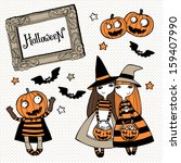 set of vector halloween... | Shutterstock .eps vector #159407990