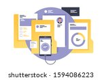 documents with personal... | Shutterstock .eps vector #1594086223
