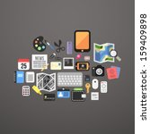 flat icons set personal items ...