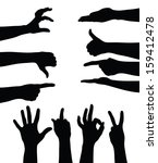 Set Of Hands Silhouettes On...