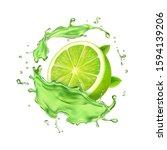 fresh lime in juice splash... | Shutterstock . vector #1594139206
