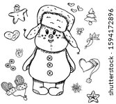 The Puffy Snowman In Hat With...