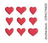 set of red hearts icons. love... | Shutterstock .eps vector #1594174603
