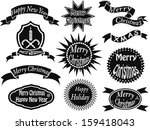 black christmas labels | Shutterstock .eps vector #159418043