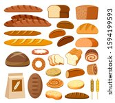 set of bread and baguettes.... | Shutterstock .eps vector #1594199593