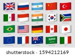 national flags fabric tags. g20 ... | Shutterstock . vector #1594212169