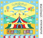 colorful carnival poster or... | Shutterstock .eps vector #159421958