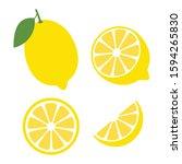 fresh lemon fruits  lemon icon... | Shutterstock .eps vector #1594265830