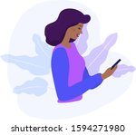 black woman looks at the phone...   Shutterstock .eps vector #1594271980