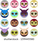 colorful owl collection. vector   Shutterstock .eps vector #159445580