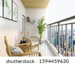 3D rendering,On the sunny open balcony, there are leisure tables, chairs and green