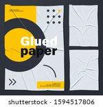 mockup of white glued wrinkled... | Shutterstock .eps vector #1594517806