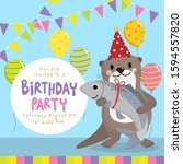 happy birthday card with cute... | Shutterstock .eps vector #1594557820