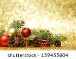new year card with fir branch... | Shutterstock . vector #159455804