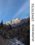 Small photo of Stunning view of Yaomei Peak of Siguniang (Four Sisters) Mountain from Changping Valley located bordering area of Rilong Town, Xiaojin County, Wenchuan County in Ngawa Tibetan, Qiang Autonomous