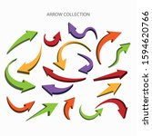 big collection of color arrows  ... | Shutterstock .eps vector #1594620766