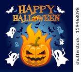happy halloween  pumpkin  bats... | Shutterstock .eps vector #159468098