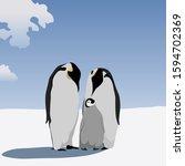 penguin family stands in the... | Shutterstock .eps vector #1594702369