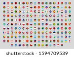 round national flags. world... | Shutterstock . vector #1594709539