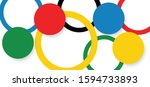 Сolored brush grunge circles or rings in Olympic style signs Olympics sport game in Tokyo 2020 Discover Tomorrow games flag banner Fun Vector drawing circle logo symbol or draw line pattern sign icons