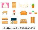 furniture decorative icons set... | Shutterstock .eps vector #1594768456