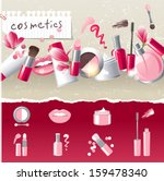 glamourous make up border with... | Shutterstock . vector #159478340