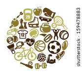 vector color sport icon set on... | Shutterstock .eps vector #159478883