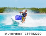 man on jet ski having fun in... | Shutterstock . vector #159482210