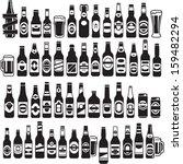 vector black beer bottles icons ... | Shutterstock .eps vector #159482294