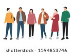 silhouettes of men and women of ... | Shutterstock .eps vector #1594853746