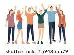 set of men and women standing ... | Shutterstock .eps vector #1594855579