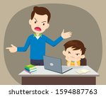 father scolds son. father angry ... | Shutterstock .eps vector #1594887763