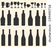 vector silhouette icon set  ... | Shutterstock .eps vector #159490718